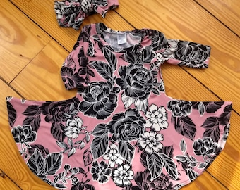 Winter dress with long sleeves Toddler dress in a floral print in a soft knit fabric Full gathered skirt and double stitched hem
