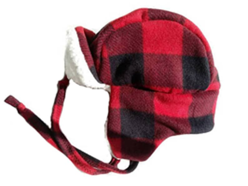 a2b0ab4e4c306 Winter trapper hat for adults in a buffalo plaid with cream