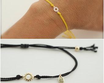 little sunshine bracelet  - tiny sun bracelet - silk cord bracelet - adjustable sun bracelet - sunburst bracelet - friendship bracelet -