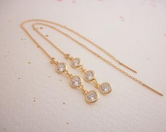 CZ  gold ear thread earrings - 14K gold-filled ear thread - long cz ear thread earrings-  gold chain earrings
