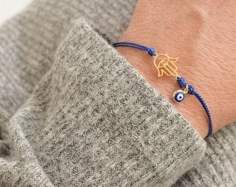 hamsa evil eye bracelet  - protection amulet  - adjustable  - tiny eye bracelet - silk cord bracelet  - Christmas gift