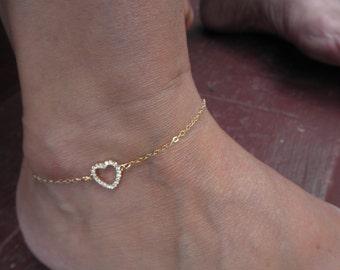 Gold CZ heart anklet - open heart ankle bracelet - pave heart - valentines gift - valentines
