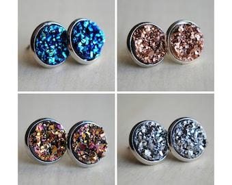 Druzy Post Earrings - 2 SIZES - Faux Druzy Earrings - Blue Druzy - Pink Druzy - Silver Druzy - Glitter Earrings - Sparkly Earrings