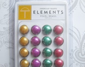 Large Pearl Brads -- Elements -- American Crafts -- Tropicals -- Yellow Purple Green Pink