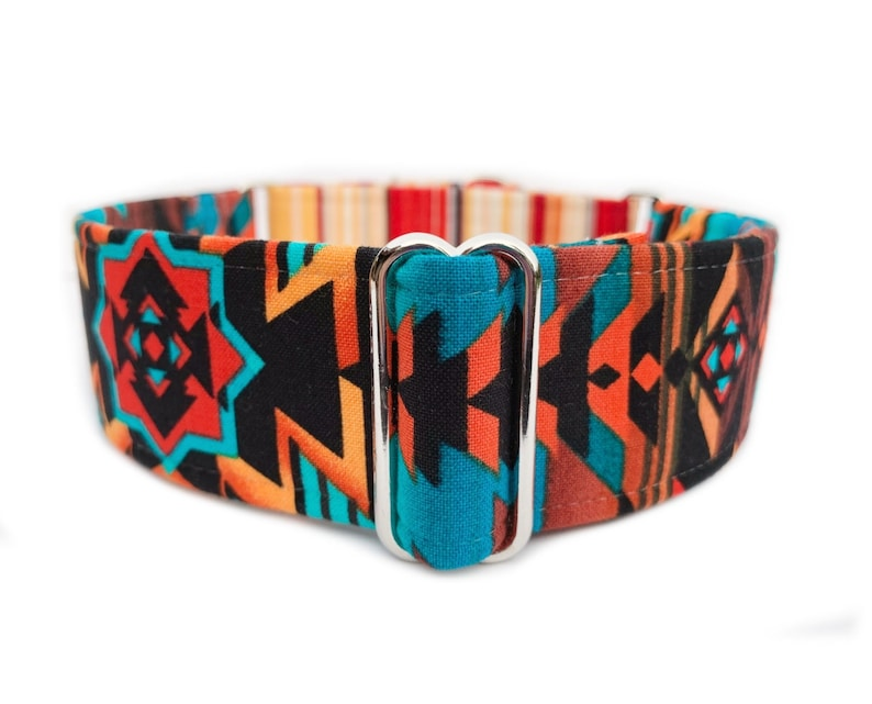 Tribal Fire Martingale Dog Collar, Side Release Buckle Collar, 1 inch, 1 5  inch, 2 inch Bright Southwestern Navajo Fabric Wrapped Pet Collar