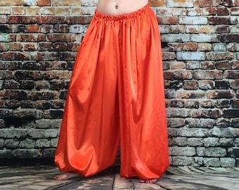 Harem pants in bodacious pumpkin orange/belly dance/tribal/fusion/ cabaret/pantaloons