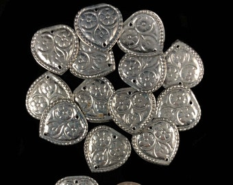 Silver toned hearts, sew on, metal, belly dance decoration