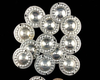 Large silver toned turkomen 'hats' buttons metal, belly dance decoration, tribal, necklace, accessory