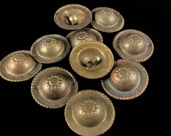 Antique brass toned turkomen 'hats' buttons, belly dance decoration, tribal, necklace, accessory