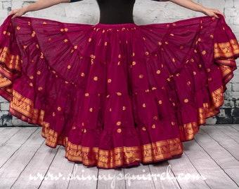 2b60060d78 Fuchsia pink Mayura banded bottom 25 yard belly dance skirt/Padma/belly  dance/4 tiered/renaissance fair/gypsy/bohemian