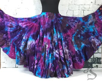 2db10e9b0 25 or 32 yard skirt/cotton/4 tiered/Tie dyed/ berry patch/purple pink/belly  dance, renaissance fair, gypsy,bohemianBellyDance