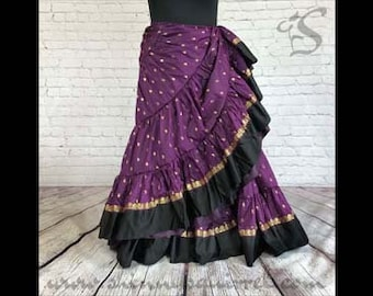 Plum purple Mayura black banded bottom padma belly dance skirt 25 yard/4 tiered/renaissance fair/gypsy/bohemian