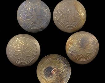Large dark antiqued brass toned Turkomen Hazargi buttons, sew on, metal, belly dance decoration, tribal