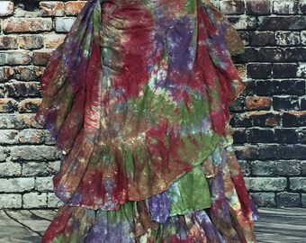 Tribal belly dance skirt-tie dye- blooms of fall mums, ATS, SCA, fusion,tribal style belly dance, bohemian