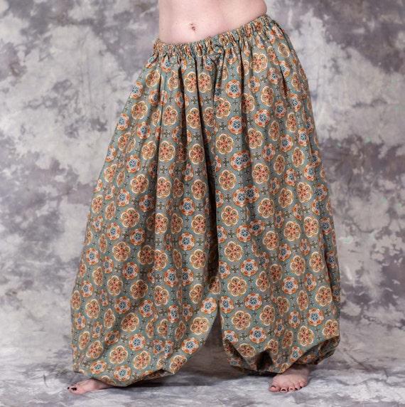 Harem Pants Belly Dance Lace Blue w// Silver /& Gold Floral Pattern 1