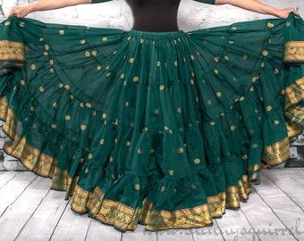 Teal blue banded bottom 25 yard belly dance skirt/Padma/belly dance/4 tiered/renaissance fair/gypsy/bohemian