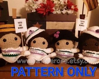 Baby Suffragettes Dolls - Susan B Anthony - Elizabeth Cady Stanton - Ida B. Wells - CROCHET PATTERNS ONLY