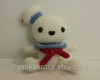 ca5ea3f0d08 Ghostbusters Stay Puft Marshmallow Man Inspired Fathead Amigurumi Plush  Doll - Baby Big Head - Horror