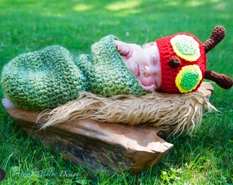 Hungry Caterpillar Photo Prop Baby Set - Hat and Cocoon * Newborn - 12 mos.