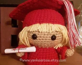 Personalized Graduate Amigurumi Plush Doll