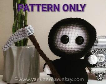 Baby Grim Reaper Amigurumi Doll - CROCHET PATTERN ONLY