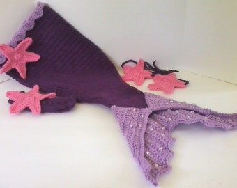 Little Mermaid Baby Girl  Photo Prop Set - Pink & Purple