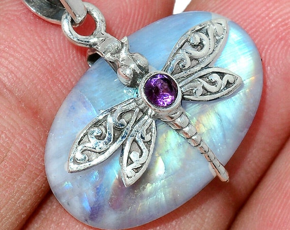 """Dragonfly Moonstone India & Amethyst 925 Silver Pendant. Free Chain 18"""". Free shipping"""