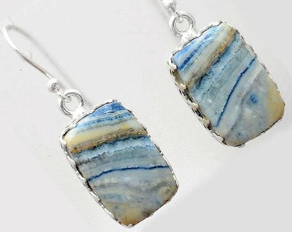 Blue Scheelite - Turkey 925 Sterling Silver Handmade Earrings Jewelry . Free shipping