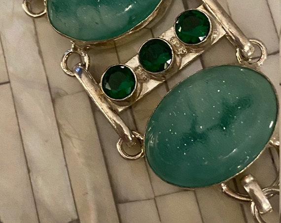 Green Druzy Bracelet & Chrome Diocside Handcrafted Sterling Silver Jewelry. India. Free Shipping !
