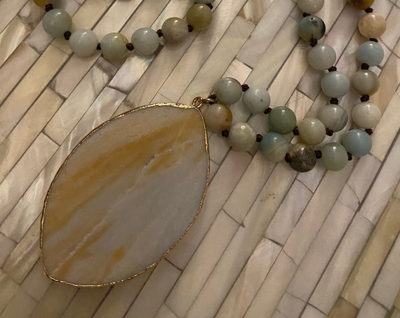 Necklace Amazonite beads Handcrafted.Agate pendant