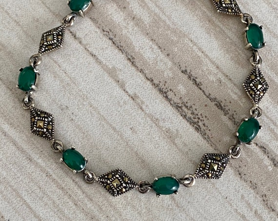 Bracelet Marquesite Solid Sterling Silver & Green Onyx