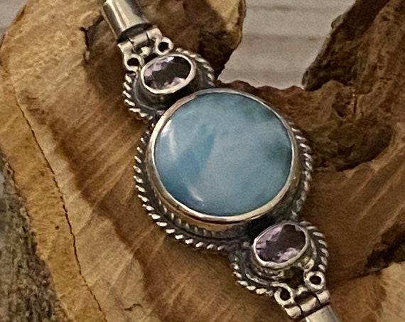 New! Natural Caribbean Larimar & Amethyst Gemstone Women Bracelet 100% High Quality Sterling 925