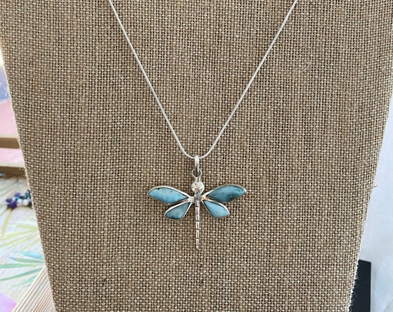 Larimar Dragon Fly Pendant. The Caribbean Gemstone. 925 Sterling Silver. Free Silver plated Chain! Free shipping !