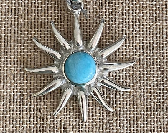 "Sun Pendant Larimar ""the Atlantis Gemstone"" 925 Sterling Silver Free Silver plated 24"" Chain! Free shipping !"