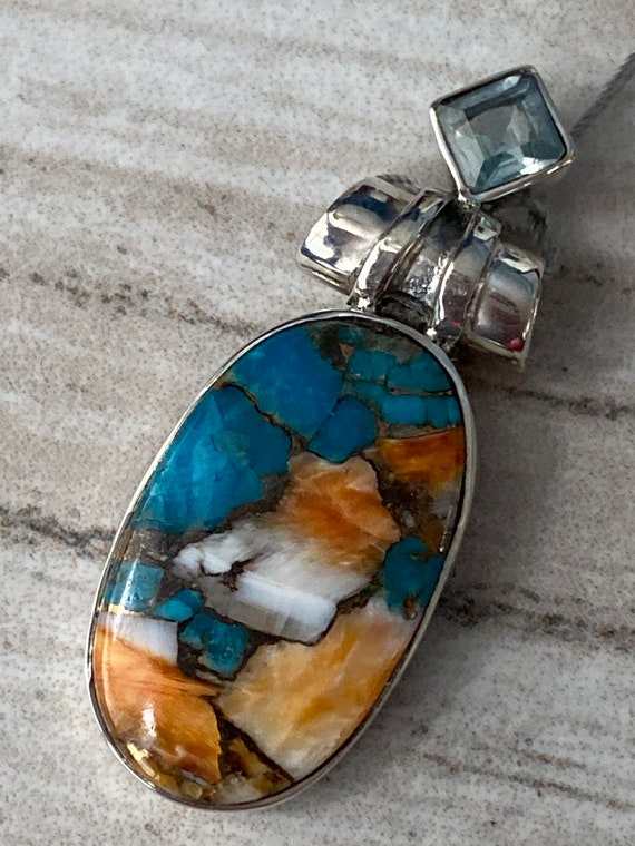 """Natural  Spiny Oyster Turquoise & Blue Topaz Pendant  925 Sterling Silver. Free Chain 18"""". Free shipping"""