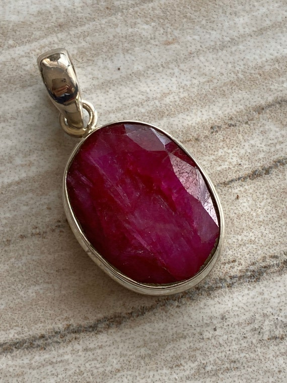 Kashimier Indian Red Ruby Gemstone Pendant. Handcrafted. 925 Sterling silver