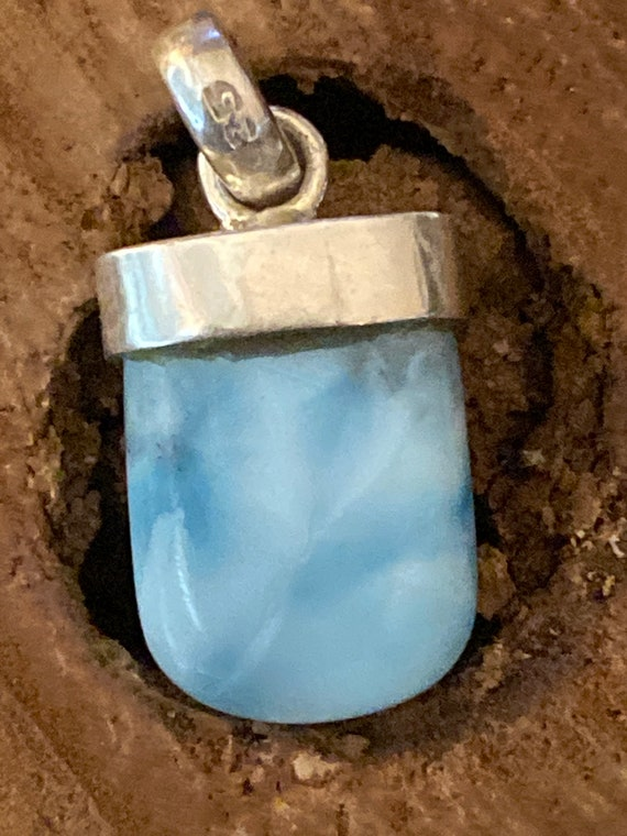 "New! Caribbean Gemstone Larimar Pendant 925 Sterling Silver. Handcrafted.Free Plated Sterling Silver Chain 24"".Free Shipping"