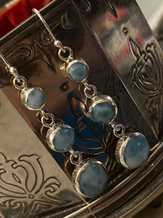 Larimar Dangling Earrings. The Caribbean Gemstone. 925 Sterling Silver