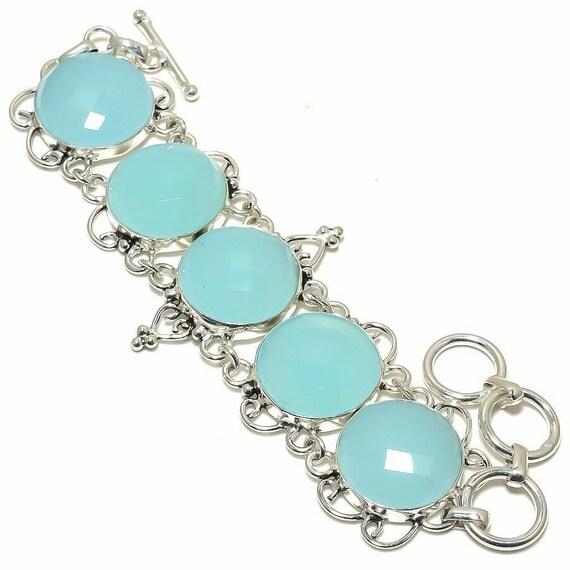 """New ! Blue Chalcedony Gemstone Handmade 925 Silver Jewelry Bracelet 7-8"""""""