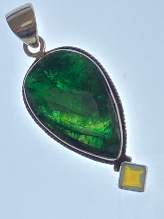 Natural Emerald & Opalite Pendant Handcrafted India 925 Sterling Silver