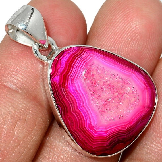 "Fleece Pink Aura Druzy 925 Sterling Silver Pendant. Free Chain 18"". Free shipping"