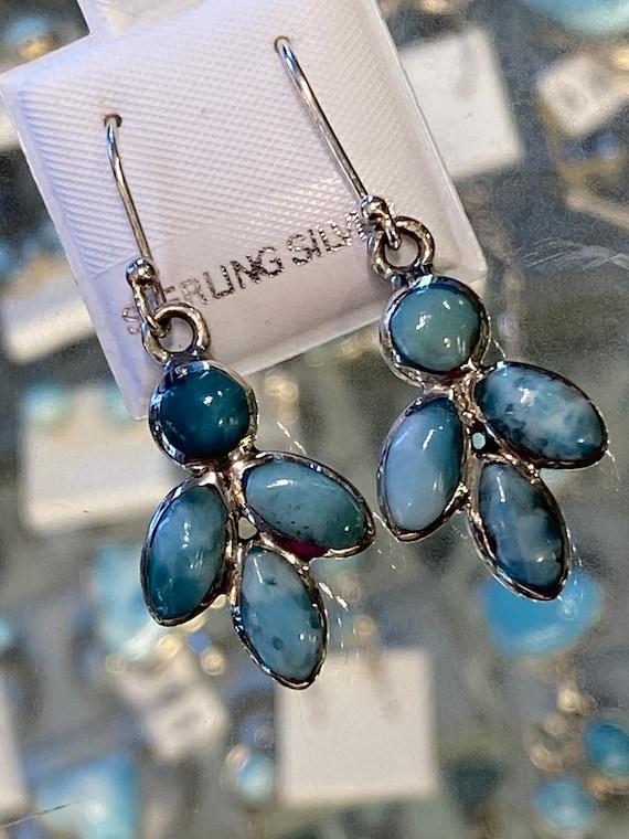 Larimar Dangling Earrings the Caribbean Gemstone 925 Sterling Silver *Fine Jewelry*