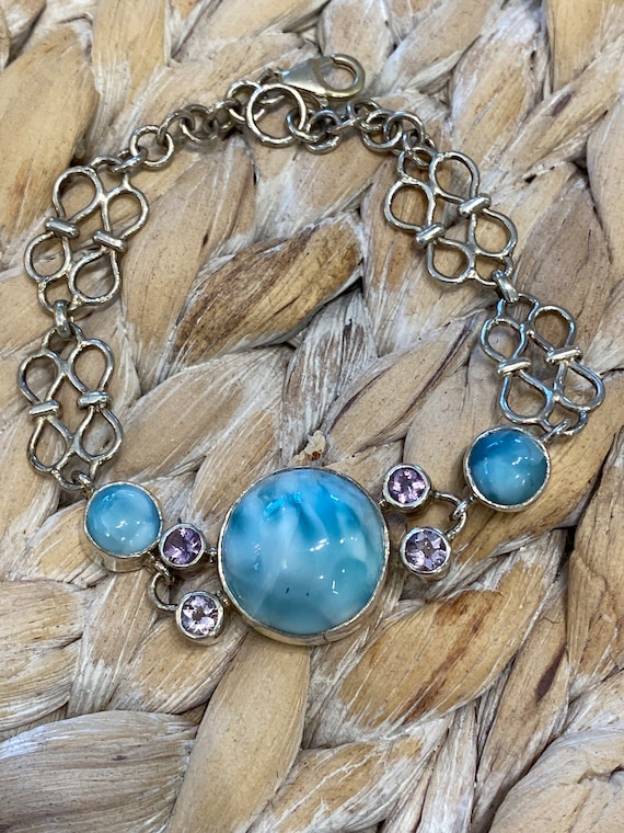One of the Kind Larimar Bracelet & Amethyst . Handcrafted. 925 Sterling silver