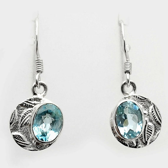 Natural Sky Blue Topaz 925 Sterling Silver Handmade Earrings Jewelry. Free Shipping