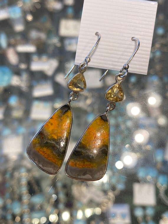 Bomble Bee Jasper & Citrine Dangling Earrings. Handcrafted,  925 Sterling Silver