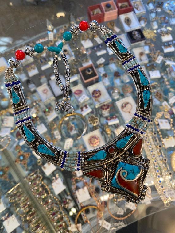 "Turquoise, Coral Gemstone & Lapis lazuli Handmade 925 Silver Tibetan Necklace 22"""