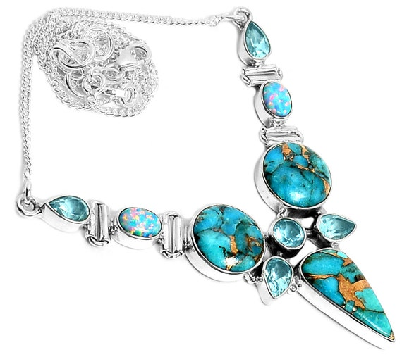 Necklace 19g Copper Blue Turquoise, Blue Topaz & Fire Opal 925 Silver