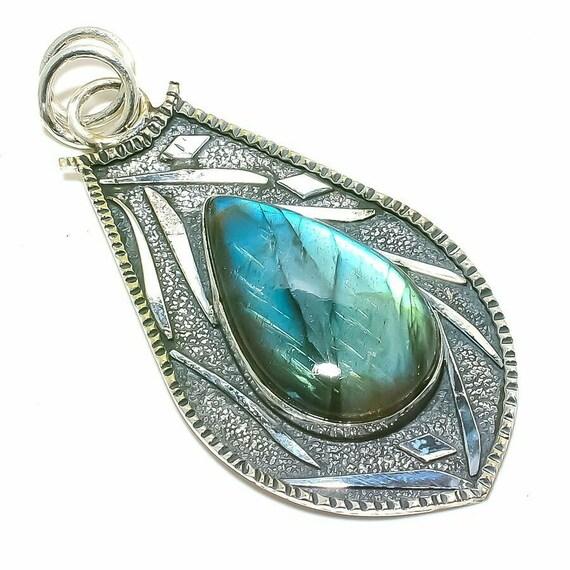 "Labradorite Gemstone Handmade Ethnic 925 Sterling Silver Pendant 2.8"""