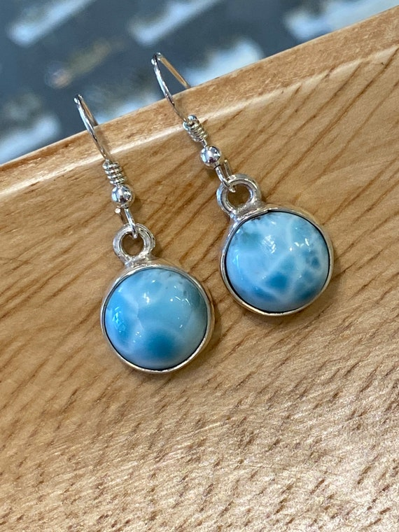Larimar Circle Dangling Earrings.Sterling Silver.                 Free Shipping!!