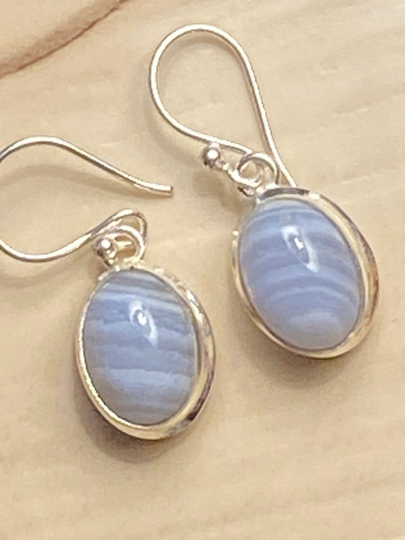 Blue lace Agate Gemstone Earrings Handcrafted 925 Sterling Silver